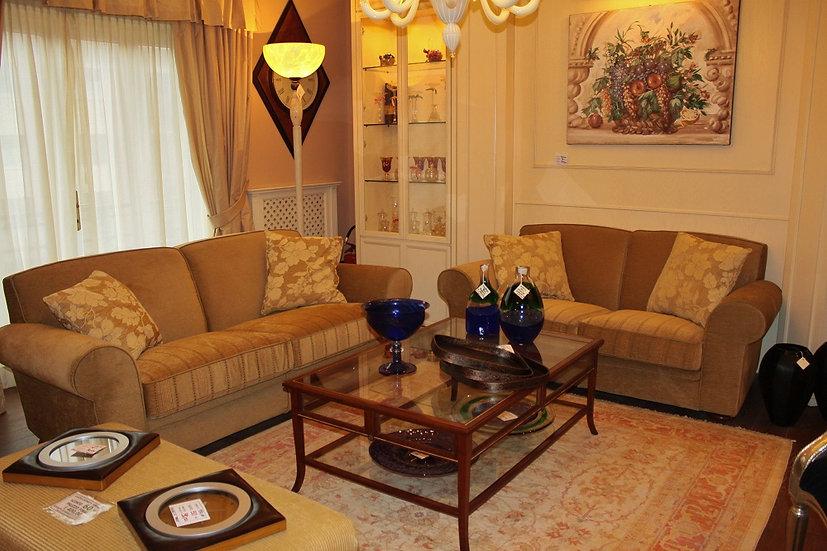 Coppia di divani, struttura in legno - tessuto in ciniglia
