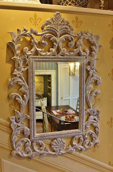 Specchio in legno intagliato bianco/grigio spazzolato
