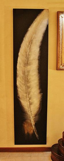 Quadro olio su tela 'Piuma' - telaio in legno