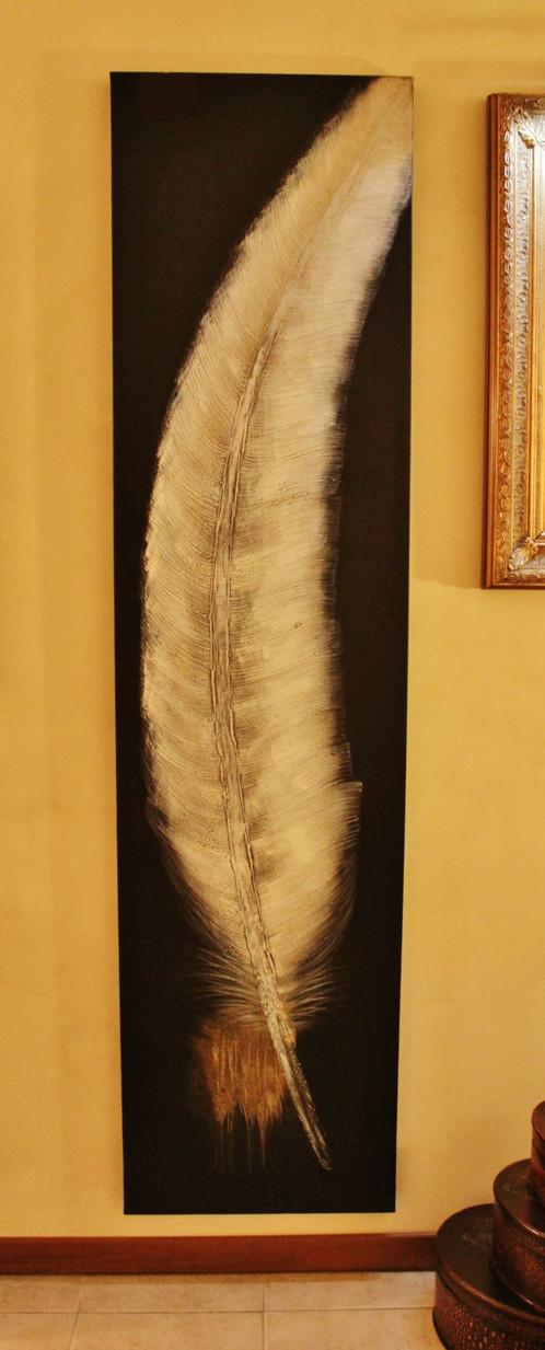 Quadro olio su tela 39 piuma 39 telaio in legno la griffe for Arredamenti piemonti carate brianza