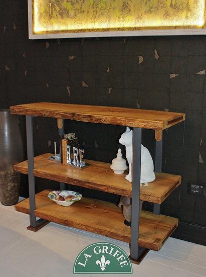 Etagere artigianale su misura - legno grezzo, struttura in ferro