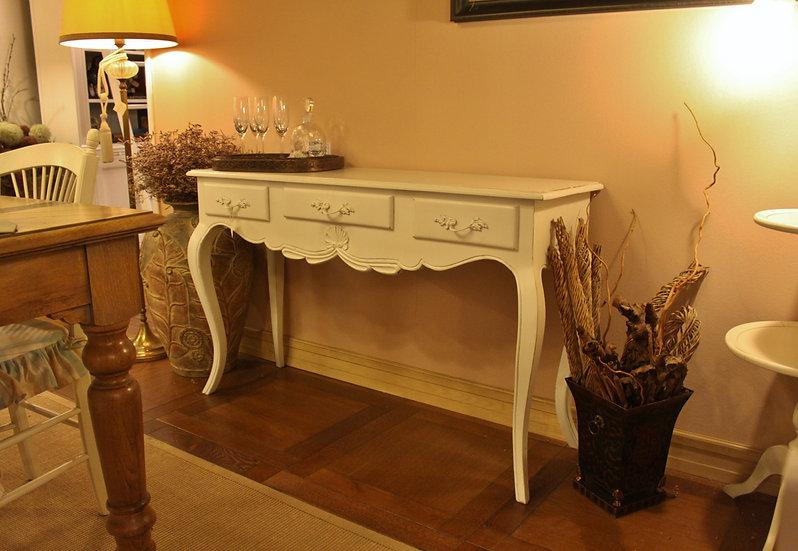 Consolle 3 cassetti in stile provenzale - finitura laccato bianco vintage