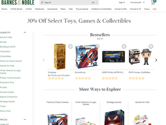 30% Off Select Toys, Games, Collectibles at Barnes & Noble