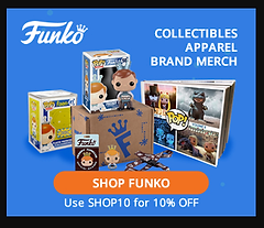 Advertisement for SHOP FUNKO website with a coupon code for 10% off.