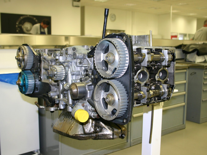 The flat four boxer engine is fully stripped and rebuilt to zero mileage at its original specification and performance.