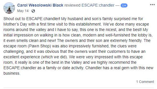 Escape chandler is the best and first escape room in Chandler, AZ and is rated the #1 Escape the room in Chandler and the #1 escape room in Gilbert! At Escape the room chandler, we offer fantastic Team building events, and provide discounts and group rates for all our escape room games.  Escape chandler is close to the chandler fashion mall and downtown chandler, escape room gilbert, gilbert escape room, paradox escape room, and cluemaster escape rooms.  We do not offer groupon escape room discounts.  We offer escape room discount codes, so give us a call.  If you are looking for fun things to do in chandler, tempe, scottsdale, or gilbert, you have come to the right place.  We are ranked as the top fun activities to do in chandler, and in the top two fun things to do in gilbert.  We are also ranked as number three of fun things to do in chandler and fun things to do in the queen creek area.  If you are visiting from out of town, give escape chandler a try.  You won't be disappointed!!!