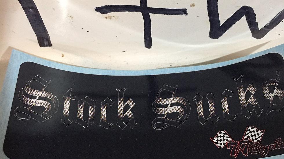 "(Black & White) 77 Cycles ""Stock Sucks"" Sticker"