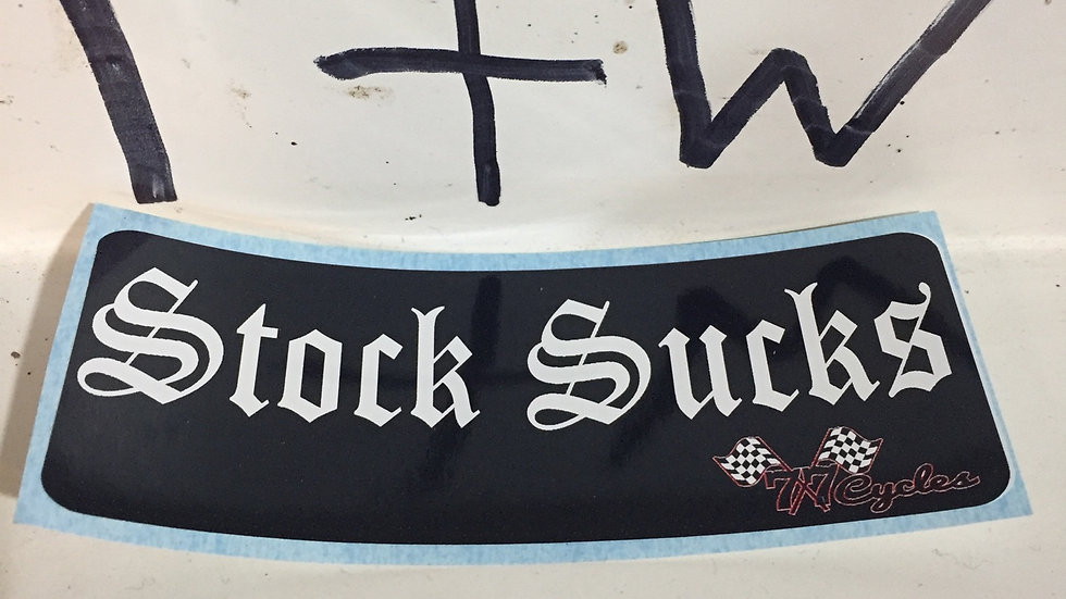 "(White) 77 Cycles ""Stock Sucks"" Sticker"