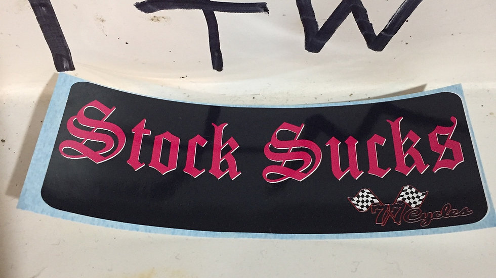 "(Pink) 77 Cycles ""Stock Sucks"" Sticker"