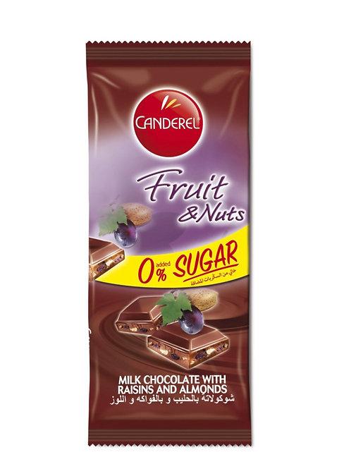 Canderel Şekersiz Üzümlü ve Bademli Çikolata Sütlü
