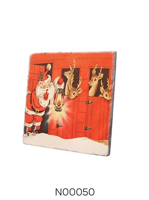 Merry Christmas Noel Baba ve Geyikleri Bardak Altlığı Traverten