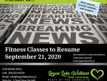 Fitness Classes start September 21, 2020