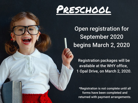 Little Learners Preschool Registration begins March 2, 2020