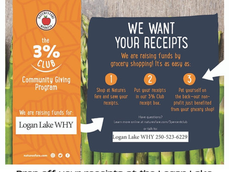 Logan Lake WHY Joins the Nature's Fare 3% Club!