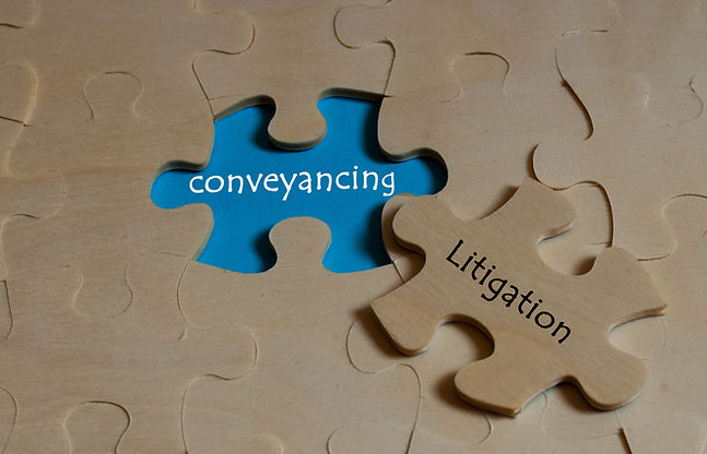 puzzle with word conveyancing and litiga