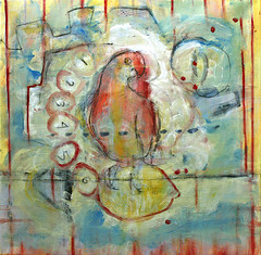 """Mixed media on canvas, 18"""" x 18""""  Parrot sitting on a lemon with metro numbers around him"""