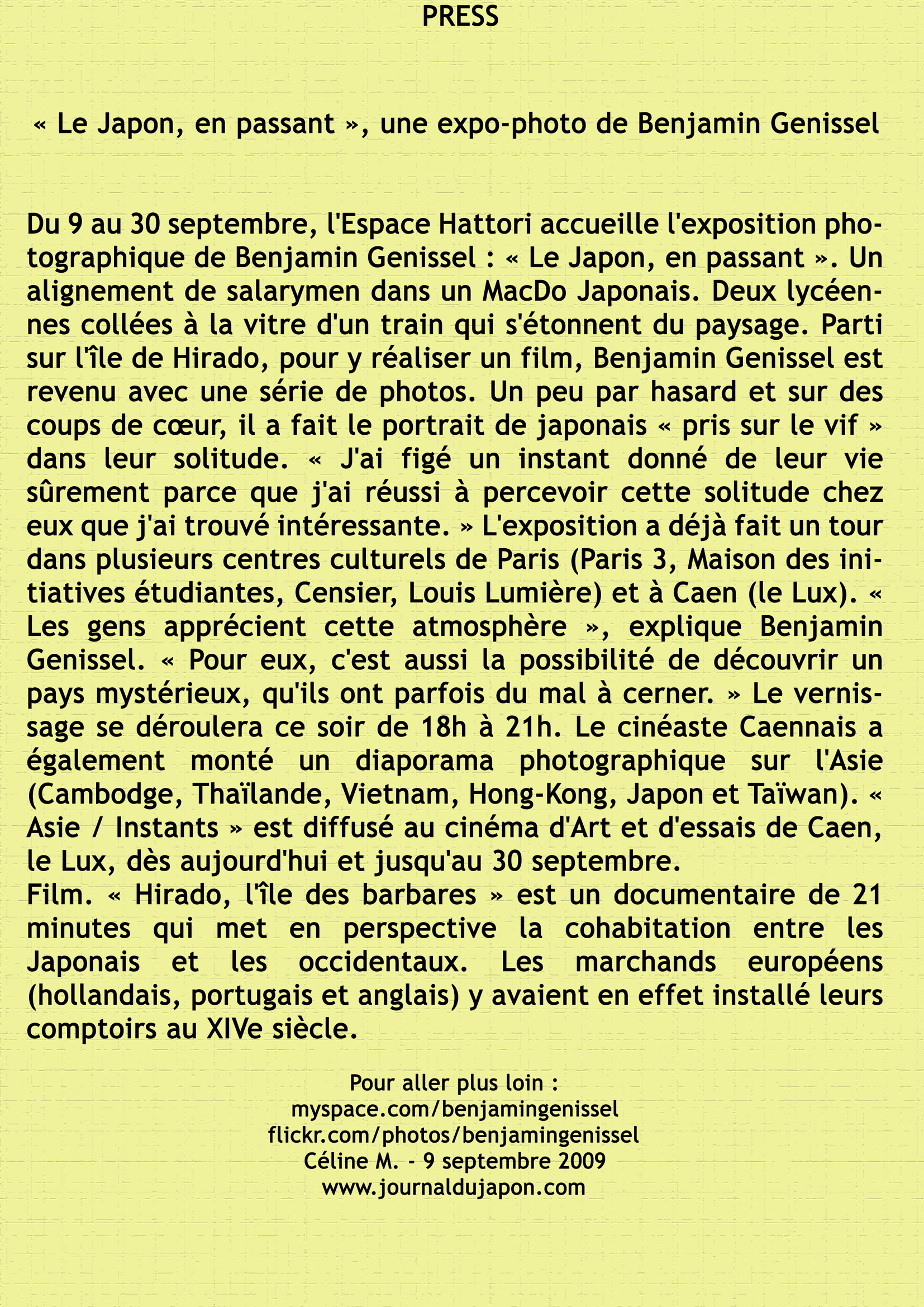 article journal du Japon 2009