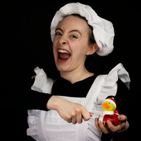 Crazed maid with duck