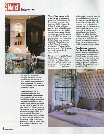 Paris match, Article de presse concernant Aline Erbeia dans le ELLE DECO, architecture d'interieur, décoration, genève, paris