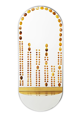 Miroir orné de Jaspes mokaïtes et de Onyx jaunes