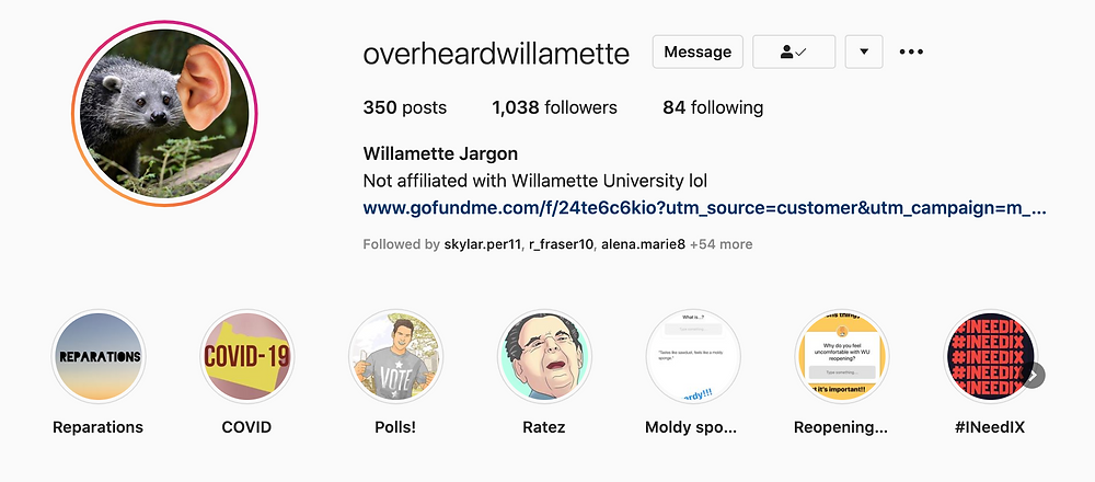 shows instagram bio and highlights for the overheard at willamette account