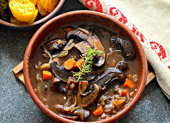 Portobella Stew w/ Cauliflower Mash & Green Beans