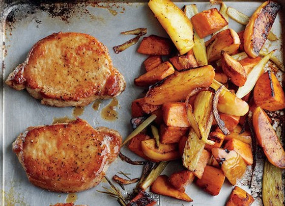 Cider Dijon Pork Chops w/ Roasted Sweet Potatoes & Apples