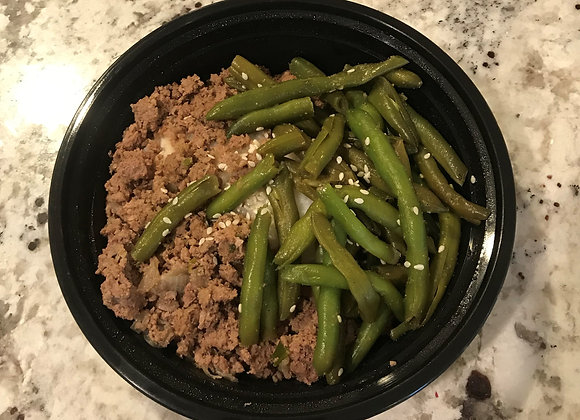 Chinese Green Beans w/ Turkey & Rice