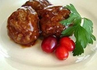 Cranberry BBQ Meatballs w/ Pumpkin Au Gratin