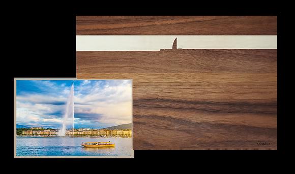 Genf bei Sonnenuntergang, Nussbaum/Ahorn 30x25