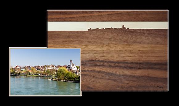 Aarau bei Sonnenuntergang, Nussbaum/Ahorn 40 x 25
