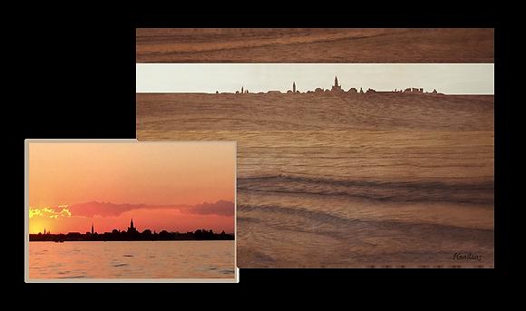 Konstanz Sonnenuntergang, Nussbaum/Ahorn 40 x 25