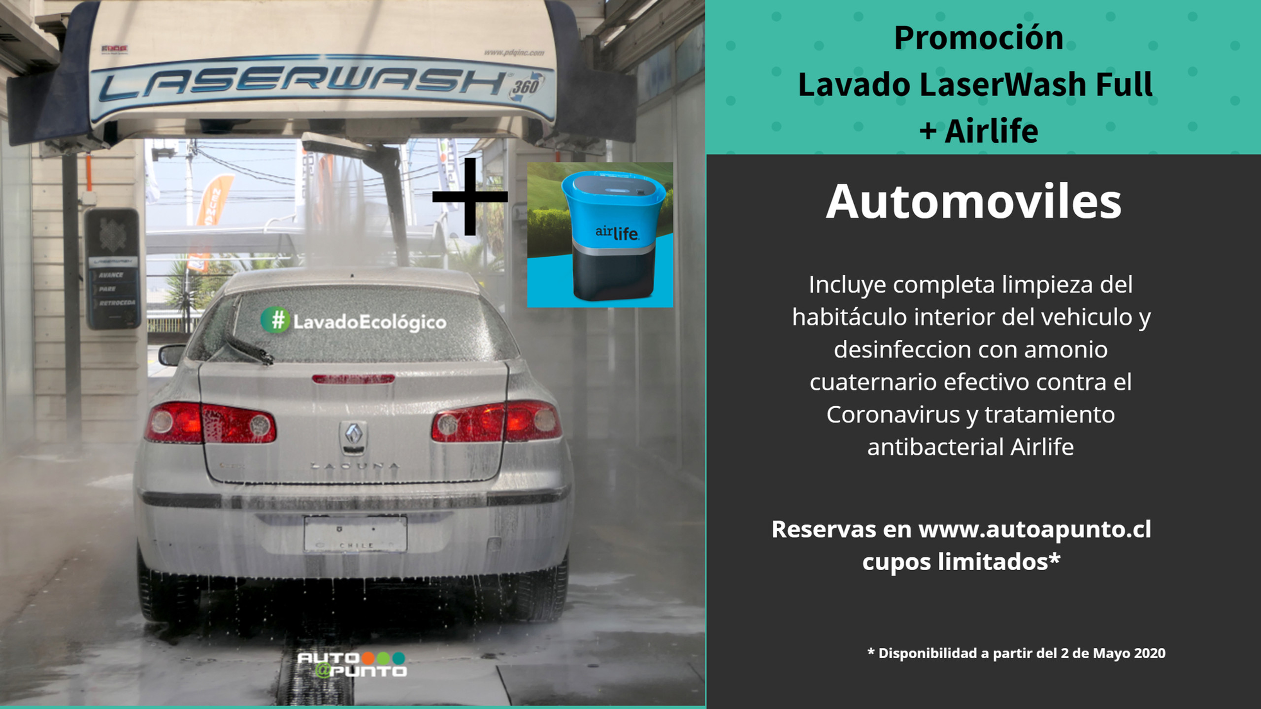 Promocion Laser Wash + Ozono Autos