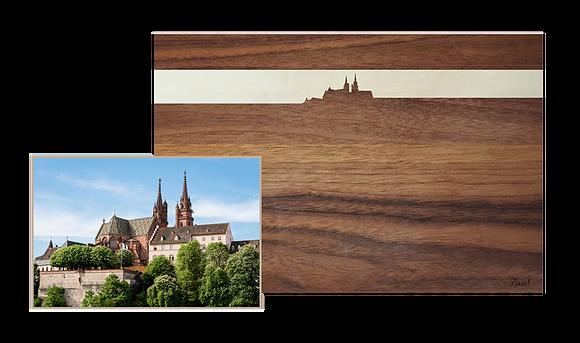 Basel bei Sonnenuntergang, Nussbaum/Ahorn 30 x 20