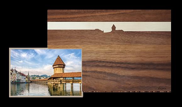 Luzern bei Sonnenuntergang, Nussbaum/Ahorn 40x25
