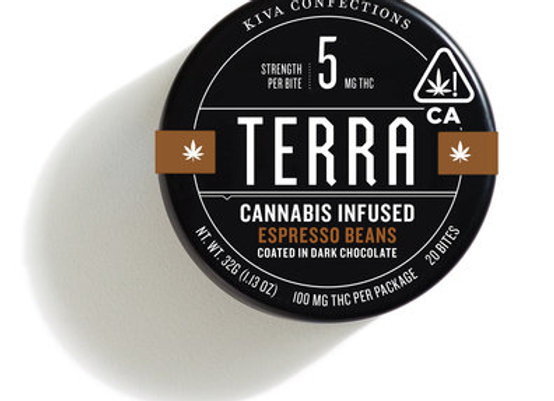 Terra Cannabis Espresso Beans coated in Dark Chocolate