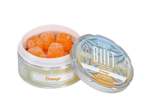 STiiiZY BiiiT cannabis infused sour gummy cubes Orange flavor. Low calorie Glute