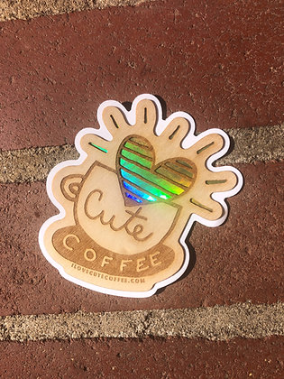 KEEPING IT ALL NATURAL! Wood Cute Coffee Logo Sticker