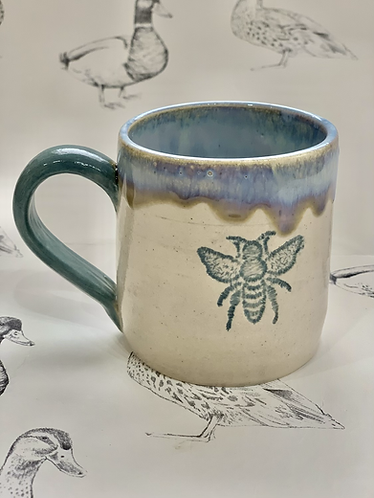Small blue grey bee mug
