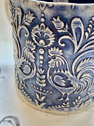 Navy folky chicken mug