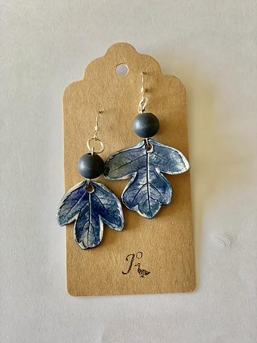 Ceramic leaf sterling silver earrings
