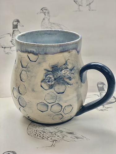 Denim blue tall bee mug