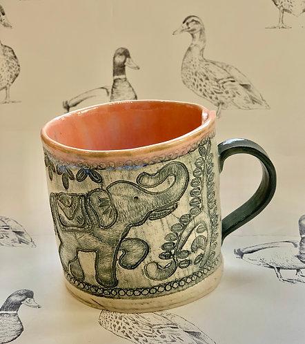 Pink and grey elephant mug
