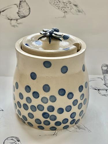 Spotty blue honey pot