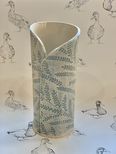 Embroidered blue/grey vase