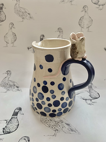 Spotty blue mouse jug
