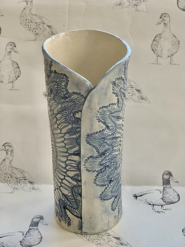 Embroidered blue/grey vase