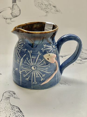 Small denim blue dandelion mousie milk jug