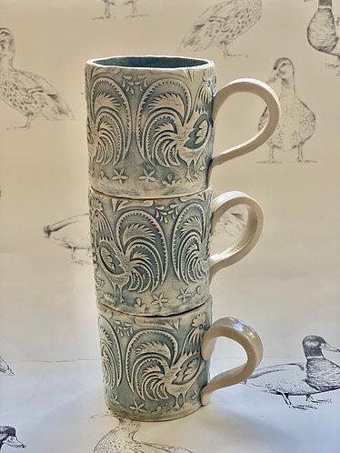 Tiny espresso mug blue grey