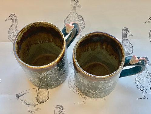 Large dandelion and mouse set of 2 mugs